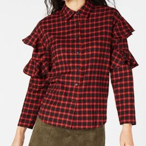 Macy's Sage The Label Flirty Plaid Ruffle Sleeve